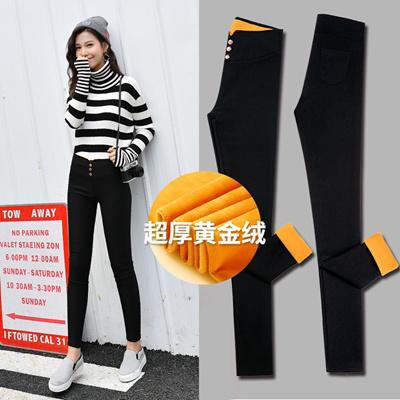 d3269dae0ebe0c Qoo10 - Add plush wearing thick black feet high waist stretch leggings pants  t... : Women's Clothing
