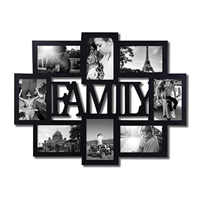 a2b2fb45d04 Qoo10 - Adeco PF0432 Black Wood Family Wall Hanging Collage Photo Frame 8  Open...   Stationery   Sup.