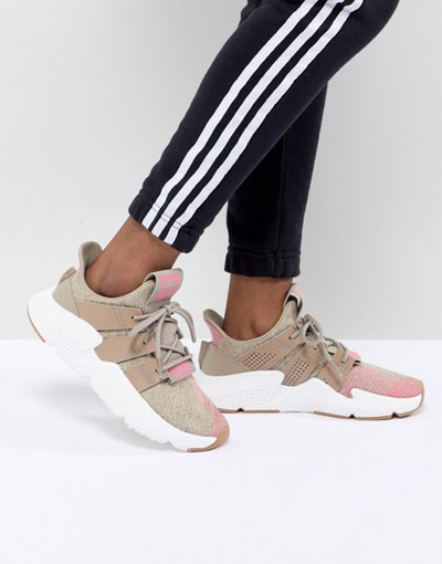adidas Originals Prophere Sneakers In Beige And Pink