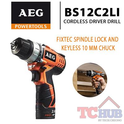 AEGAEG Cordless Driver Drill BS12C2LI Built in LED light illuminates the  work surface