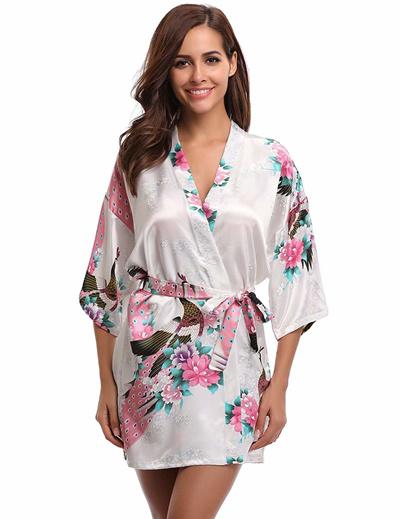 Qoo10 - Aibrou Womens Kimono Robe Satin Peacock Bathrobe Short Silk Bridal  Rob...   Women s Clothing babdac5f9