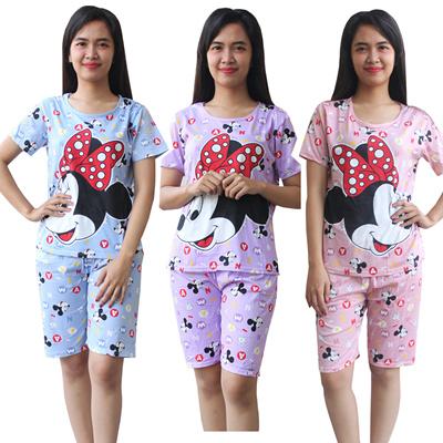 Aily C10 Setelan Piyama Baju Tidur Wanita Celana Pendek Motif Mickey Mouse
