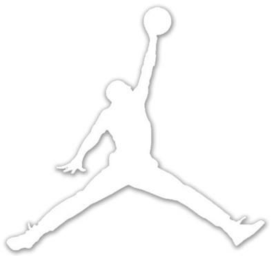 Air jordan nike jumpman logo vinyl sticker decal white 6 inch