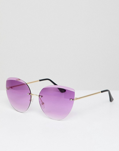 846084de741 Qoo10 - AJ Morgan rimless cat eye sunglasses in gold purple   Fashion  Accessories