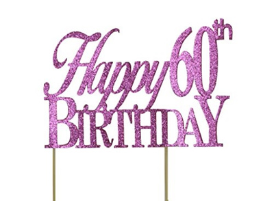 All About Details Pink Happy 60th Birthday Cake Topper