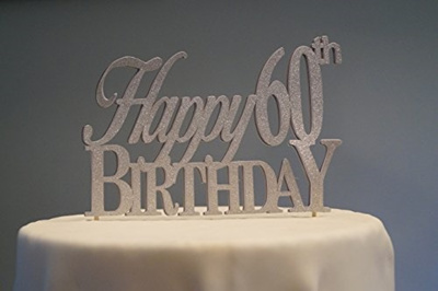 All About Details Silver Happy 60th Birthday Cake Topper