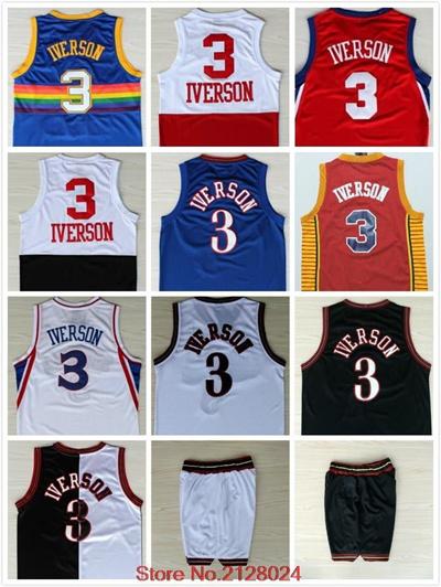 buy popular e511c b20b8 Allen Iverson Jersey #3 Mesh Rainbow Blue Men' s Retro Allen Iverson Black  White Embroidery Bask