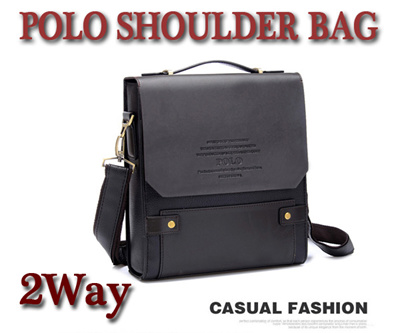 Also for business ☆ POLO ☆ 2 WAY Fake Leather Second Shoulder  Dark Brown  9bf7eadcce94a
