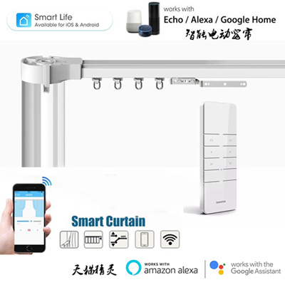 Amazon echo Google home Wifi Alexa smart curtains Automatic Curtain system  Accept Customized Track