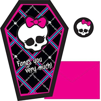 Amscan Monster High Birthday Part Thank You Note Cards Supply (8 Pack),  4 25