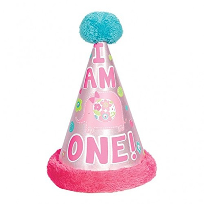 Amscan One Wild Girl 1st Birthday Cone Hat With Faux Fur Trim 85 Pink