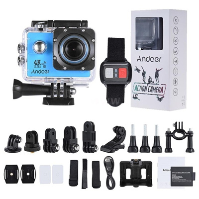 Andoer AN4000 4K 30fps 16MP WiFi Action Sports Camera 1080P 60fps Full HD  4X Zoom Waterproof 40m 2