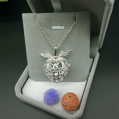 Angel Wings necklace open cut essential oil perfume essential oil bottle  box copper pendant box post