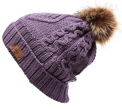 70df3a57ee8 Qoo10 - ANGELA WILLIAM Womens Faux Fur Pom Pom Fleece Lined Knitted Slouchy  B...   Fashion Accessor.