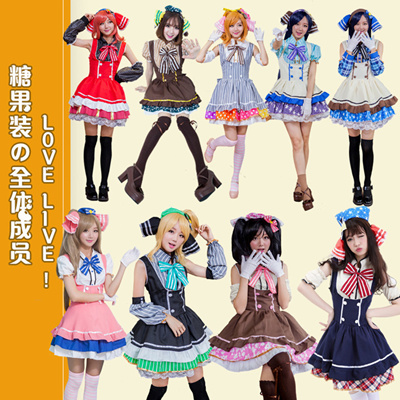 d75aae835f8 Anime Cosplay Love Live Costume Halloween Lolita Maid Outfit Candy Color  Cute Women Dress HL175111