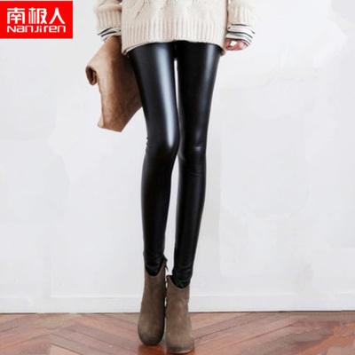 32452e8854823 (Antarctic people)Black PU leather pants/ Ladies High Waist Black Leather  Leggings/