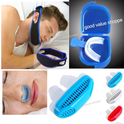 ★ANTI SNORING★ Comfortable Nose Filter / Chin Strap / Mouth Guard Sleeping  Aid Snore Apnea Support