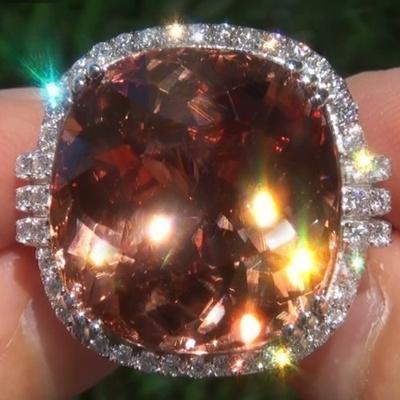 Qoo10 - Antique Art Deco Large 925 Jewelry Sterling Silver Morganite  Diamond ...   Women s Clothing c0c3a5b1e1fd
