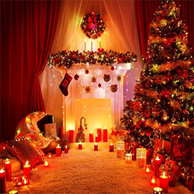 Aofoto 6x6ft Christmas Tree Backdrop Fireplace Photography Background Xmas Wreath Candles Garland In