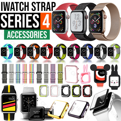buy online 1a4e6 c3dd9 Apple Watch Series 4 3 Strap iwatch Screen protector case accessories Band  Milanese loop