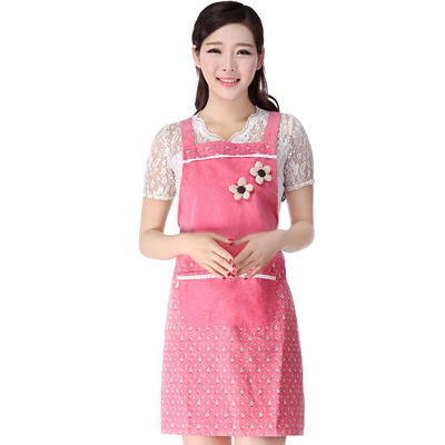 Apron Korean Fashion Ladies Adult Cute Kitchen Clothes Home Cotton Fabric Stain Clothes