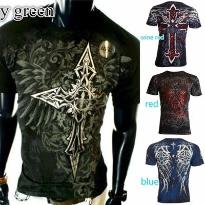 af92f26d Qoo10 - Archaic AFFLICTION Men T-Shirt RED FLAG Cross Wings Tattoo Biker  Men C... : Women's Clothing