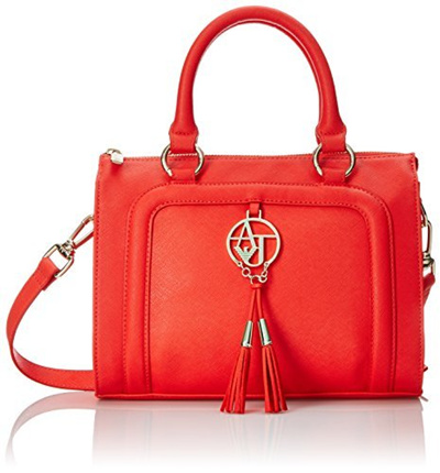 Armani Jeans Bauletto Bag In Faux Saffiano with Tassels Top Handle Bag,  Red, One 3aee5dbde7