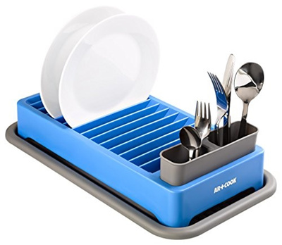 (Art and Cook) Art and Cook Space Saving Dish Rack with Utensil Holder,  Blue-DR0526