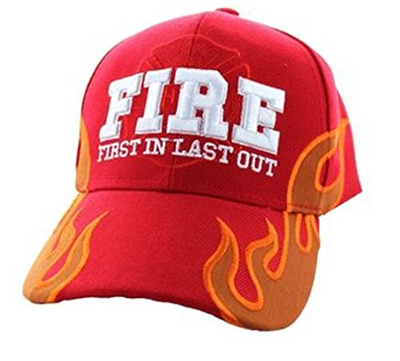 10e03717d (Artisan Owl) First In Last Out Fire Rescue Flames Baseball Cap with  Adjustable Strap-