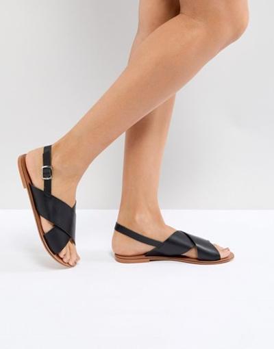 32d6c63b8a4 Qoo10 - ASOS FLICKER Leather Flat Sandals   Shoes