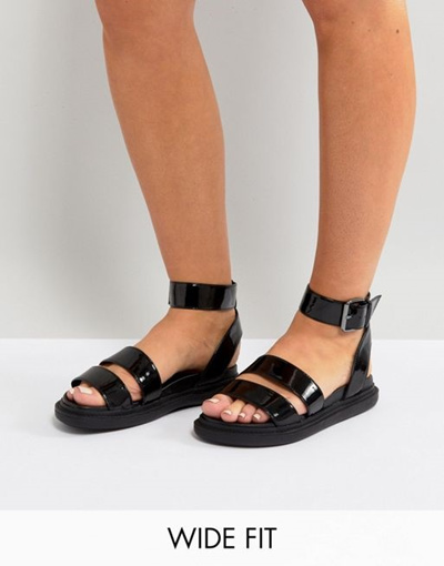 03c6a7d6424a Qoo10 - ASOS FLOCK Wide Fit Chunky Flat Sandals   Shoes