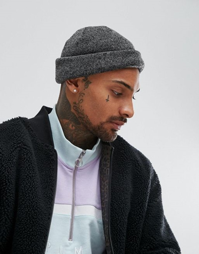 062224e17 ASOS Mini Fisherman Beanie In Black And Gray Twist