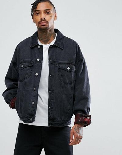 Qoo10 Asos Oversized Denim Jacket With Padding In Washed Black