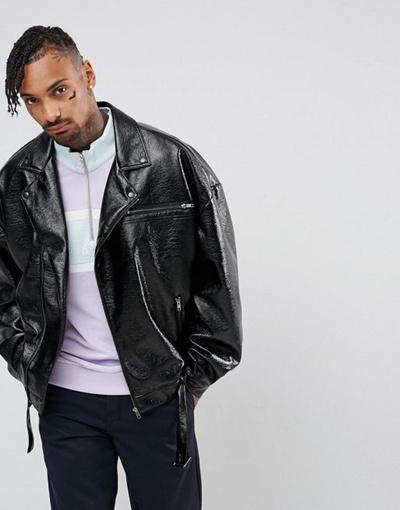 b56ab722539ea Qoo10 - ASOS Oversized Faux Leather Biker Jacket In Black   Men s Apparel