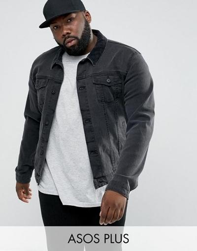 78dcf6ebd70 Qoo10 - ASOS PLUS Denim Jacket in Skinny Fit In Black With Cord Collar :  Men's Clothing