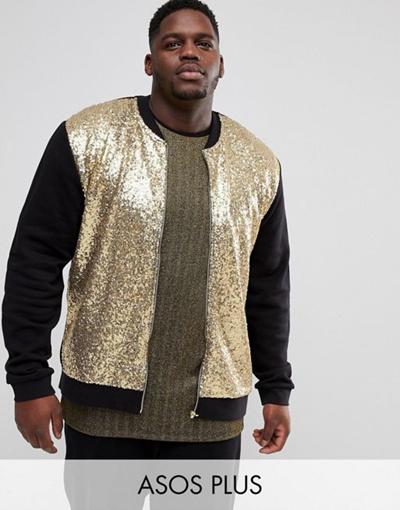 c0a38182 Qoo10 - ASOS PLUS Gold Sequin Bomber Jacket : Men's Clothing