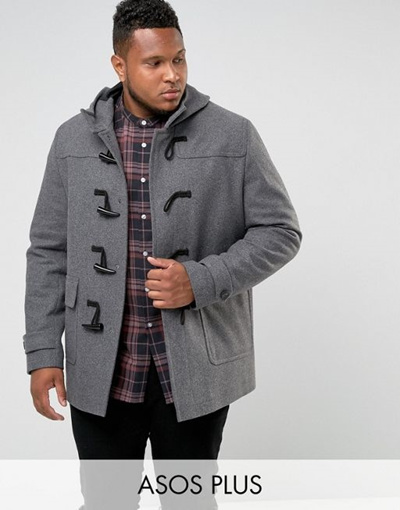 9de4175b9dd3 Qoo10 - ASOS PLUS Wool Mix Duffle Coat In Light Gray   Men s Apparel