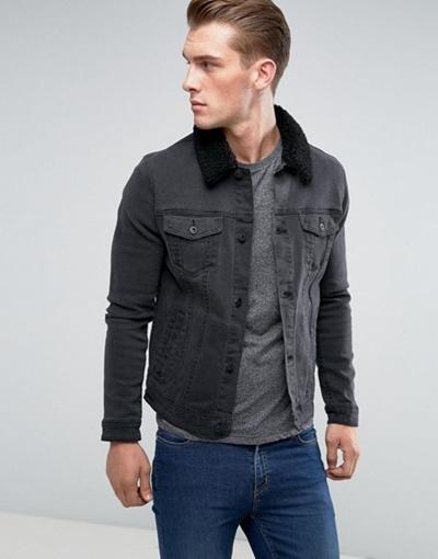 2353a6906d3 Qoo10 - ASOS Skinny Denim Jacket With Fleece Collar in Black Wash : Men's  Clothing