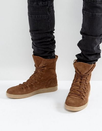 356d75bb8e Qoo10 - ASOS Sneaker Boots in Brown Suede   Shoes