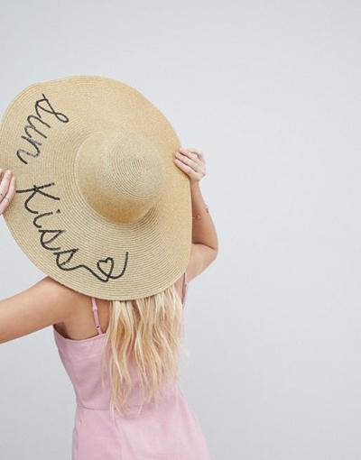 Qoo10 - ASOS Straw Metallic Floppy Hat with Sun Kiss Sequin Print and Size  Adj...   Fashion Accessor. bc4468205b5