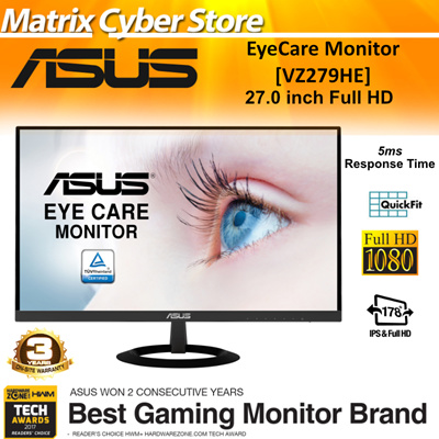 ASUSASUS VZ279HE 27 0 inch Full HD IPS Ultra-slim Frameless Flicker Free  Blue Light Filter