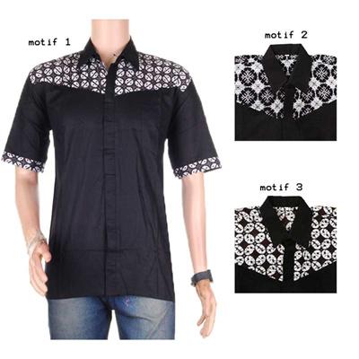 Qoo10  Atasan Pria  Kemeja  Hem Polos Kombinasi Batik Monokrom