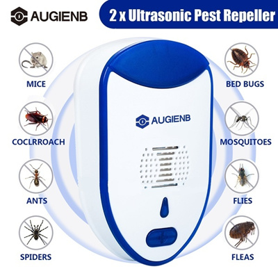 AUGIENB 2 Pack Ultrasonic Electronic Pest Rodent Repeller Fly Cockroach  Spider Rat Control 240v