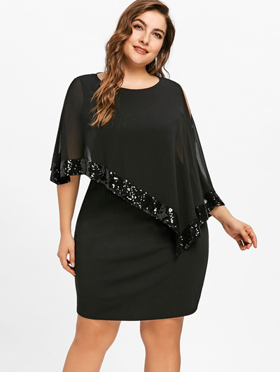 authentic Gamiss Women Fashion 2018 Summer Plus Size 5XL Sequins Capelet  Overlay Party Dress Chiffon 5f2153b539de