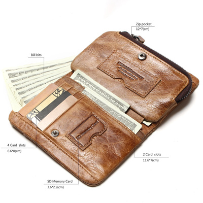 e5c82f21032 Qoo10 - authentic Genuine Cow Leather Mens Wallets Brand Logo Zipper Design  Bi...   Bag   Wallet