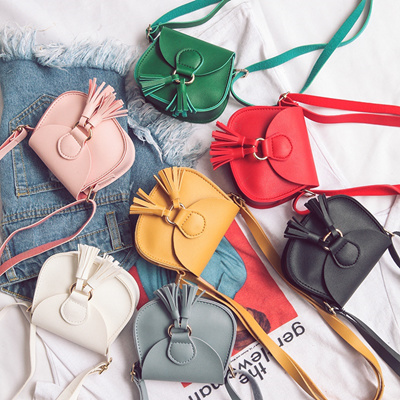 80f15c5ae3f3 authentic Kids Girls Mini Coin Purse Cross Body Bag PU Leather Tassel  Shouler Bags For Baby