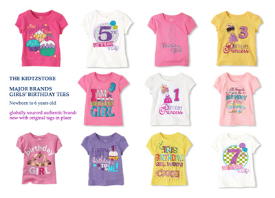 AUTHENTIC OLD NAVY THE CHILDRENS PLACE GIRLS BIRTHDAY TEES 9m To 7T