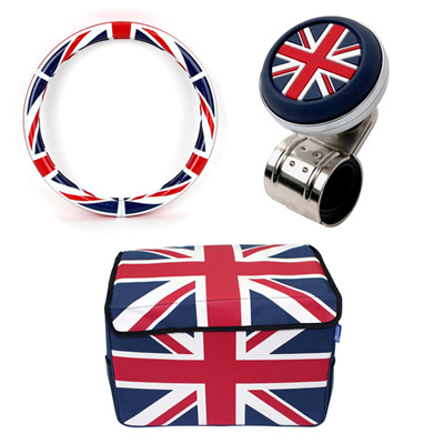 Autoriver Kenner British Style Union Jack Interior Set !! Power Handle ◇  Steering Wheel Handle