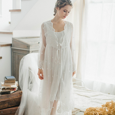 5e63e38484 Qoo10 - Autumn and winter sweet sexy lace straps long sleeve nightdress Robe  h...   Underwear   Sock.
