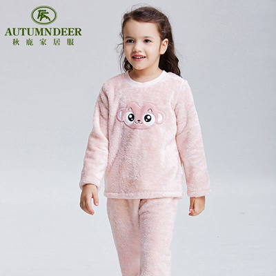 8383252c76 Qoo10 - Autumn deer in autumn and winter new children s pajamas girls coral  fl...   Baby   Maternity